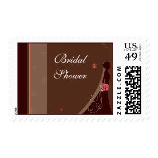 Bridal Shower Postage Stamp Bride Pink Brown White