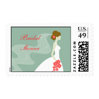 Bridal Shower Postage Stamp Bride Veil Green Pink