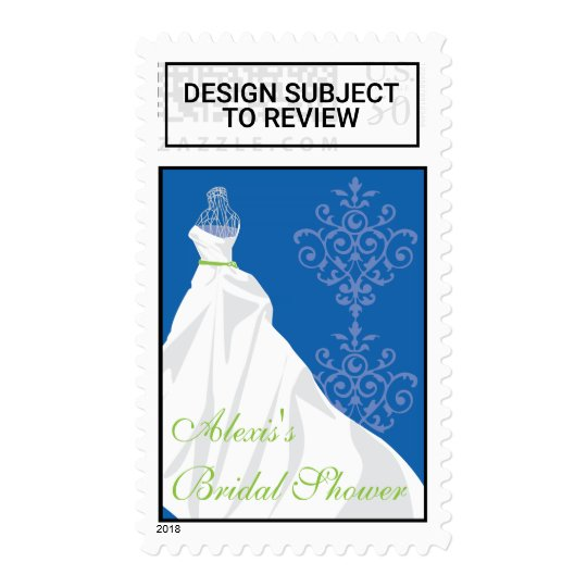 bridal shower postage stamp wedding dress