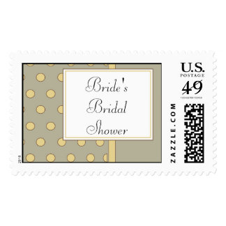 Bridal Shower Postage Stamp-Yellow Polka Dot