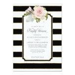 Bridal Shower Pretty Flower Art Deco Stripe Modern Card