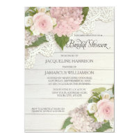 Bridal Shower Pretty Flower Vintage Lace Hydrangea Invitation