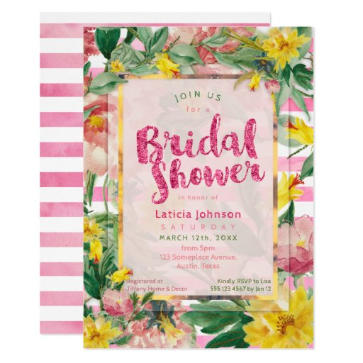 Bridal Shower | Pretty Yellow Pink Floral Stripes Card