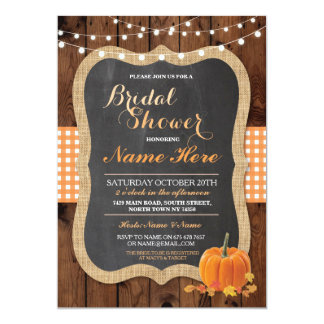 Bridal Shower Pumpkin Fall Wood Burlap Invitation