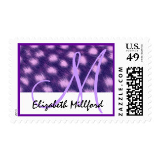 Bridal Shower Purple and Pink Cheetah Print Postage