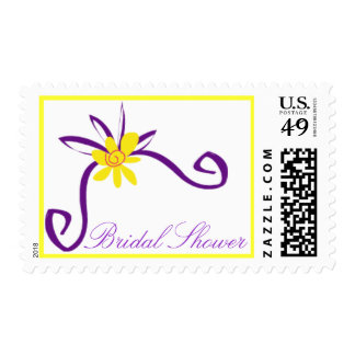 Bridal Shower Purple and Yellow Postage Stamp