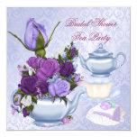 Bridal Shower Purple Floral Tea Party Invitation