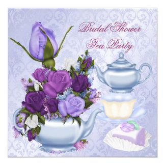 Bridal Shower Purple Floral Tea Party 5.25x5.25 Square Paper Invitation Card