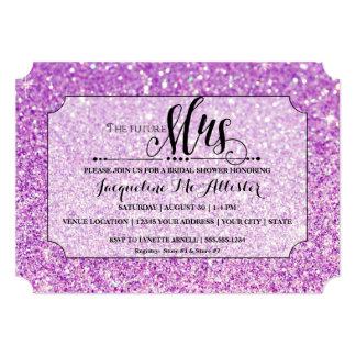 Bridal Shower Purple Glitter Future Mrs. Ticket Card