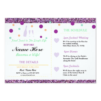 Bridal Shower Purple Glitter Heart Icons Itinerary Card