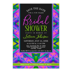 Bridal Shower • Purple Green Hippie Trance Party Invitation