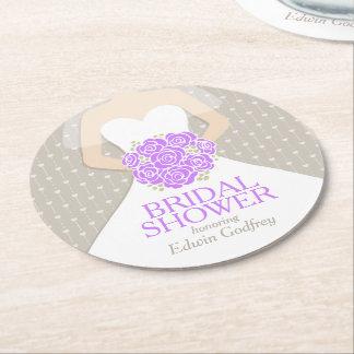 bridal shower purple white dress custom coasters round paper coaster