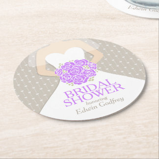 bridal shower purple white dress custom coasters round paper coaster