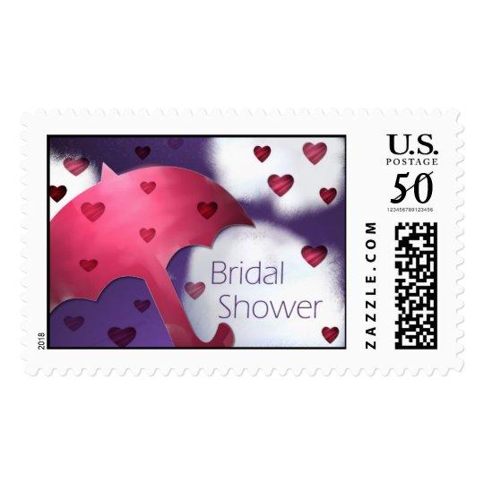 Bridal Shower Rainy Hearts Postage