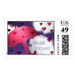 Bridal Shower Rainy Hearts Postage Stamp