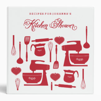 Bridal Shower Recipe Binder in Red and White