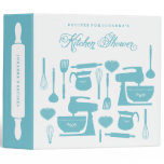 Bridal Shower Recipe Binder in Teal Blue and White