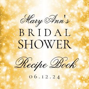 bridal shower recipe book gold shimmer lights
