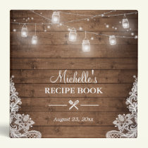 Bridal Shower Recipe Book | Mason Jar Lights Lace Binder