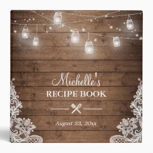 Bridal Shower Recipe Book | Mason Jar Lights Lace Binder at Zazzle