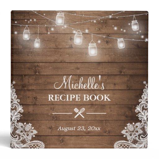 Bridal Shower Recipe Book | Mason Jar Lights Lace Binder