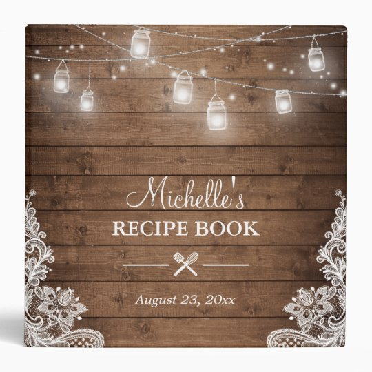 bridal shower recipe book mason jar lights lace binder
