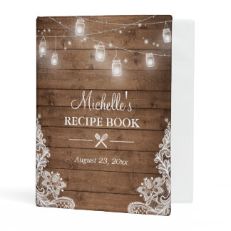 Bridal Shower Recipe Book | Mason Jar Lights Lace Mini Binder