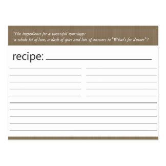 Bridal Shower Recipe Card