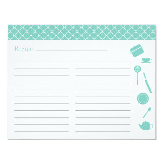 Bridal Shower Recipe Card - Blue Custom Invitations