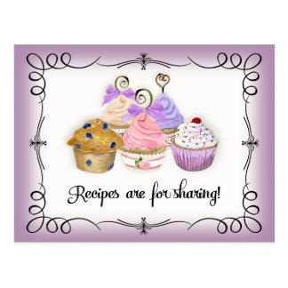 Bridal Shower Recipe Card Cupcakes Scrolls Retro