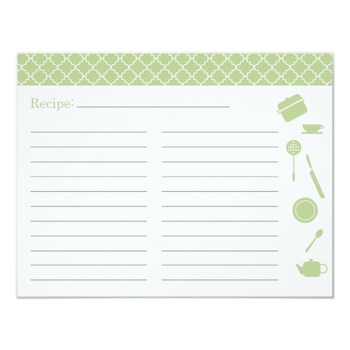 Bridal Shower Recipe Card - Green
