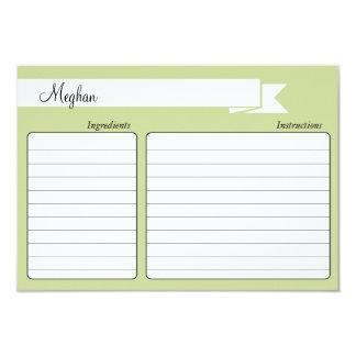 "Bridal Shower Recipe Card - Green 3.5"" X 5"" Invitation Card"
