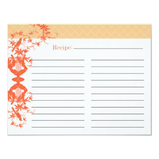 Bridal Shower Recipe Card - Orange