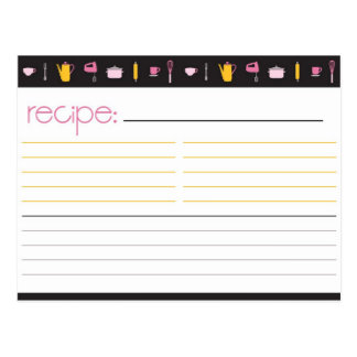 Bridal Shower Recipe Card Post Cards