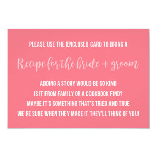 Recipe bridal shower invitations announcements zazzle bridal shower recipe card saying invitation insert filmwisefo