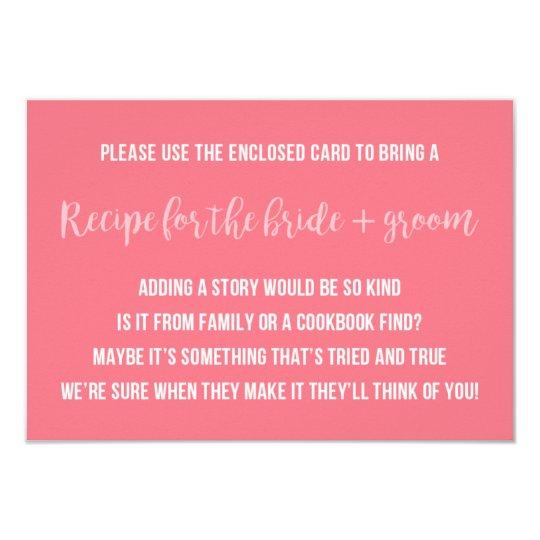 Bridal Shower Recipe Card Saying Invitation Insert ...