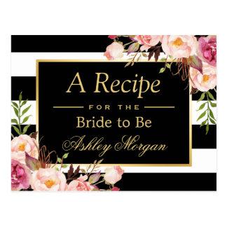 Bridal Shower Recipe Card Vintage Floral Stripes