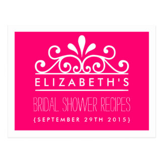 Bridal Shower Recipe Cards Pink Tiara