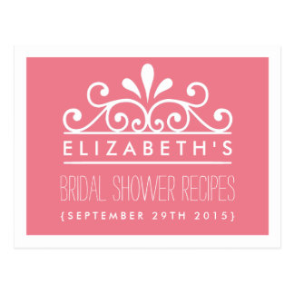 Bridal Shower Recipe Cards Pink Tiara Postcard
