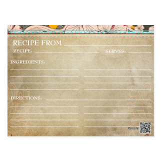Bridal Shower Recipe Cards- Rustic Floral Postcard