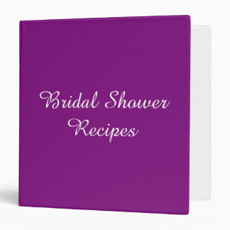 Bridal Shower Recipe Cook Book Design Purple 3 Ring Binder