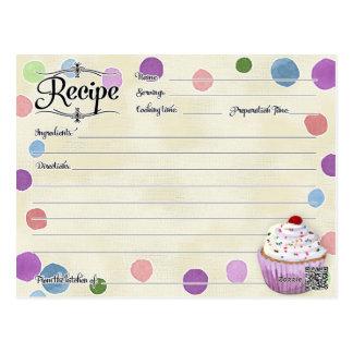 Bridal Shower Recipe Polka dot Cupcake Retro Postcard