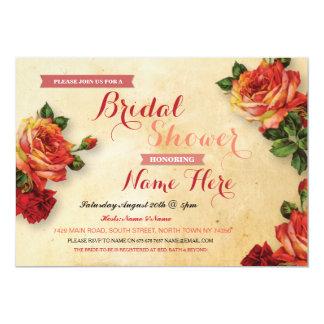 Bridal Shower Red Roses Coral Floral Invitation
