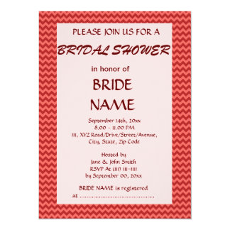Bridal Shower - Red Zigzag, Pink Background Card