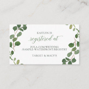 f111f9bc0c2 Bridal Shower Registry Cards Eucalyptus Greenery