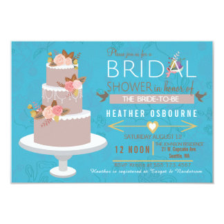 Bridal Shower Retro Wedding Cake Invitation