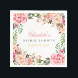"""Bridal Shower Romantic Chic Floral Wreath Wrap Paper Napkin<br><div class=""""desc"""">================= ABOUT THIS DESIGN ================= Modern Pink Floral Wrapping Invitation Suite. (1) All text style, colors, sizes can be modified to fit your needs. (2) If you need any customization or matching items, please feel free to contact me. (In case you didn&#39;t get my response, please check the email SPAM...</div>"""
