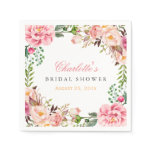 Bridal Shower Romantic Chic Floral Wreath Wrap Paper Napkin<br><div class='desc'>================= ABOUT THIS DESIGN ================= Modern Pink Floral Wrapping Invitation Suite. (1) All text style, colors, sizes can be modified to fit your needs. (2) If you need any customization or matching items, please feel free to contact me. (In case you didn&#39;t get my response, please check the email SPAM...</div>