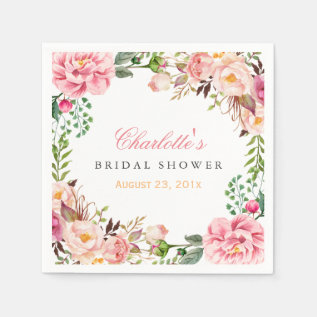 Bridal Shower Romantic Chic Floral Wreath Wrap Paper Napkin at Zazzle