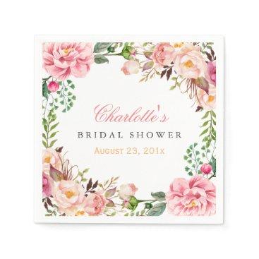 CardHunter Bridal Shower Romantic Chic Floral Wreath Wrap Paper Napkin